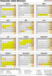 Vorlage 8: Kalender Bremen 2023 als PDF-Vorlage (Hochformat)