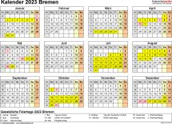 Vorlage 4: Kalender 2023 für Bremen als PDF-Vorlage (Querformat, 1 Seite, Jahresübersicht)