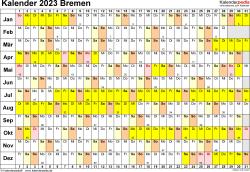 Vorlage 3: Kalender Bremen 2023 im Querformat, Tage nebeneinander
