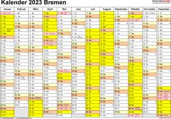 Vorlage 1: Kalender 2023 für Bremen als PDF-Vorlage (Querformat, 1 Seite)