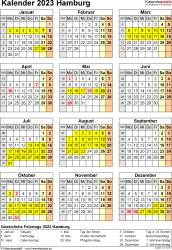 Vorlage 8: Kalender Hamburg 2023 als Excel-Vorlage (Hochformat)