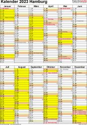 Vorlage 5: Kalender Hamburg 2023 als Excel-Vorlage (Hochformat)