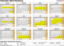 Vorlage 4: Kalender 2023 für Hamburg als PDF-Vorlage (Querformat, 1 Seite, Jahresübersicht)