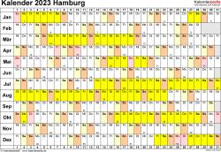 Vorlage 3: Kalender Hamburg 2023 im Querformat, Tage nebeneinander