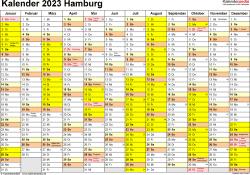 Vorlage 1: Kalender 2023 für Hamburg als PDF-Vorlage (Querformat, 1 Seite)