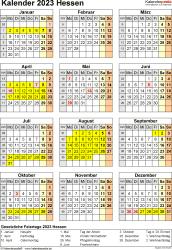 Vorlage 8: Kalender Hessen 2023 als Excel-Vorlage (Hochformat)