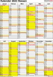 Vorlage 5: Kalender Hessen 2023 als Excel-Vorlage (Hochformat)