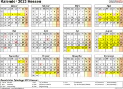 Vorlage 4: Kalender 2023 für Hessen als PDF-Vorlage (Querformat, 1 Seite, Jahresübersicht)