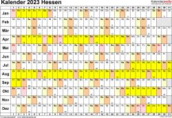 Vorlage 3: Kalender Hessen 2023 im Querformat, Tage nebeneinander