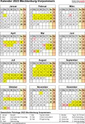 Vorlage 8: Kalender Mecklenburg-Vorpommern 2023 als Word-Vorlage (Hochformat)