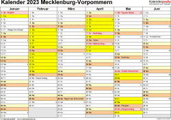 Vorlage 2: Kalender 2023 für Mecklenburg-Vorpommern als Word-Vorlage (Querformat, 2 Seiten)