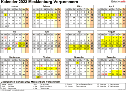 Vorlage 4: Kalender 2023 für Mecklenburg-Vorpommern als PDF-Vorlage (Querformat, 1 Seite, Jahresübersicht)