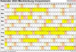 Vorlage 3: Kalender Mecklenburg-Vorpommern 2023 im Querformat, Tage nebeneinander