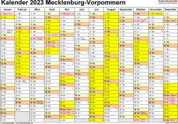 Vorlage 1: Kalender 2023 für Mecklenburg-Vorpommern als PDF-Vorlage (Querformat, 1 Seite)