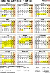 Vorlage 8: Kalender Niedersachsen 2023 als Word-Vorlage (Hochformat)