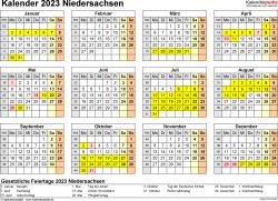 Vorlage 4: Kalender 2023 für Niedersachsen als Word-Vorlage (Querformat, 1 Seite, Jahresübersicht)