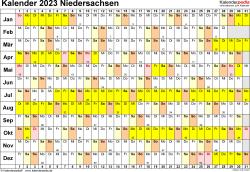 Vorlage 3: Kalender Niedersachsen 2023 im Querformat, Tage nebeneinander
