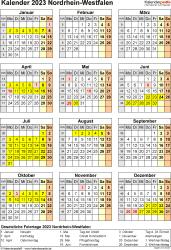 Vorlage 8: Kalender Nordrhein-Westfalen (NRW) 2023 als Word-Vorlage (Hochformat)