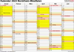 Vorlage 2: Kalender 2023 für Nordrhein-Westfalen (NRW) als Word-Vorlage (Querformat, 2 Seiten)
