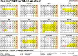 Vorlage 4: Kalender 2023 für Nordrhein-Westfalen (NRW) als Word-Vorlage (Querformat, 1 Seite, Jahresübersicht)