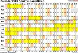 Vorlage 3: Kalender Nordrhein-Westfalen (NRW) 2023 im Querformat, Tage nebeneinander