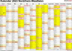 Vorlage 1: Kalender 2023 für Nordrhein-Westfalen (NRW) als Word-Vorlage (Querformat, 1 Seite)