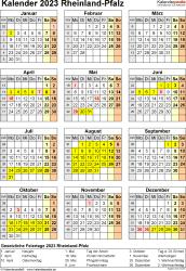 Vorlage 8: Kalender Rheinland-Pfalz 2023 als Word-Vorlage (Hochformat)