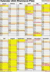Vorlage 5: Kalender Rheinland-Pfalz 2023 als Word-Vorlage (Hochformat)