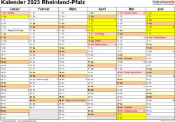 Vorlage 2: Kalender 2023 für Rheinland-Pfalz als Word-Vorlage (Querformat, 2 Seiten)