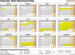 Vorlage 4: Kalender 2023 für Rheinland-Pfalz als Word-Vorlage (Querformat, 1 Seite, Jahresübersicht)