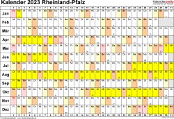 Vorlage 3: Kalender Rheinland-Pfalz 2023 im Querformat, Tage nebeneinander