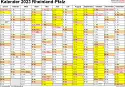 Vorlage 1: Kalender 2023 für Rheinland-Pfalz als Word-Vorlage (Querformat, 1 Seite)