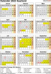 Vorlage 8: Kalender Saarland 2023 als Excel-Vorlage (Hochformat)