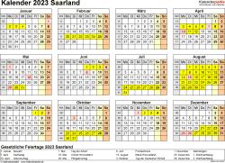 Vorlage 4: Kalender 2023 für Saarland als Excel-Vorlage (Querformat, 1 Seite, Jahresübersicht)
