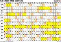 Vorlage 3: Kalender Saarland 2023 im Querformat, Tage nebeneinander
