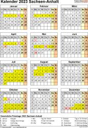 Vorlage 8: Kalender Sachsen-Anhalt 2023 als Excel-Vorlage (Hochformat)