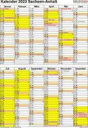 Vorlage 5: Kalender Sachsen-Anhalt 2023 als Excel-Vorlage (Hochformat)