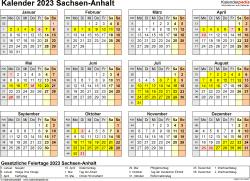 Vorlage 4: Kalender 2023 für Sachsen-Anhalt als PDF-Vorlage (Querformat, 1 Seite, Jahresübersicht)