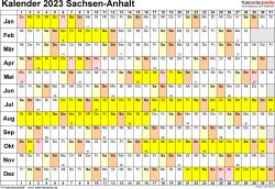 Vorlage 3: Kalender Sachsen-Anhalt 2023 im Querformat, Tage nebeneinander