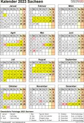Vorlage 8: Kalender Sachsen 2023 als Word-Vorlage (Hochformat)