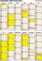 Vorlage 5: Kalender Sachsen 2023 als Word-Vorlage (Hochformat)