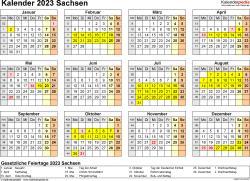 Vorlage 4: Kalender 2023 für Sachsen als Word-Vorlage (Querformat, 1 Seite, Jahresübersicht)