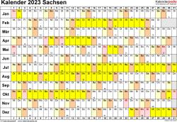 Vorlage 3: Kalender Sachsen 2023 im Querformat, Tage nebeneinander