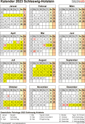 Vorlage 8: Kalender Schleswig-Holstein 2023 als Excel-Vorlage (Hochformat)