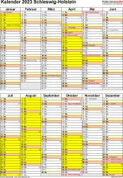 Vorlage 5: Kalender Schleswig-Holstein 2023 als Excel-Vorlage (Hochformat)