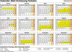 Vorlage 4: Kalender 2023 für Schleswig-Holstein als Excel-Vorlage (Querformat, 1 Seite, Jahresübersicht)