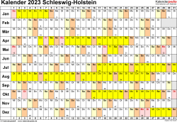 Vorlage 3: Kalender Schleswig-Holstein 2023 im Querformat, Tage nebeneinander
