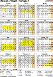 Vorlage 8: Kalender Thüringen 2023 als Excel-Vorlage (Hochformat)