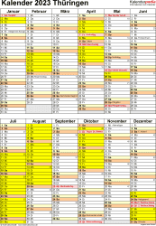 Vorlage 5: Kalender Thüringen 2023 als Excel-Vorlage (Hochformat)
