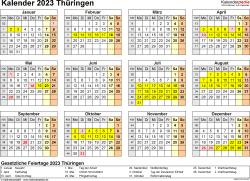 Vorlage 4: Kalender 2023 für Thüringen als Excel-Vorlage (Querformat, 1 Seite, Jahresübersicht)